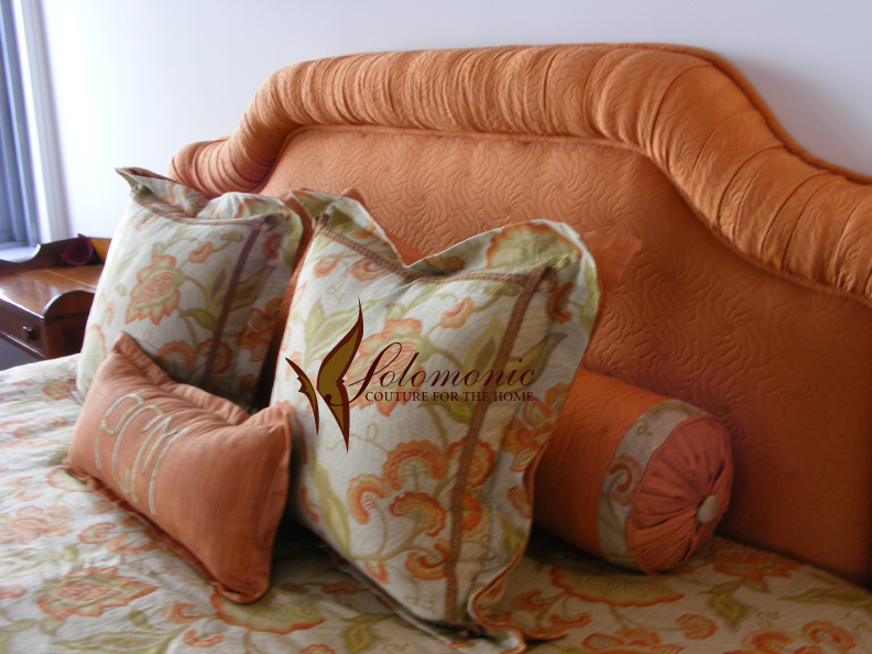 Pillows headboard with double flanged pillows bolster and for Headboard made pillows